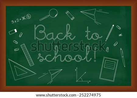 Back to school doodles set on green chalk board, illustration - stock photo