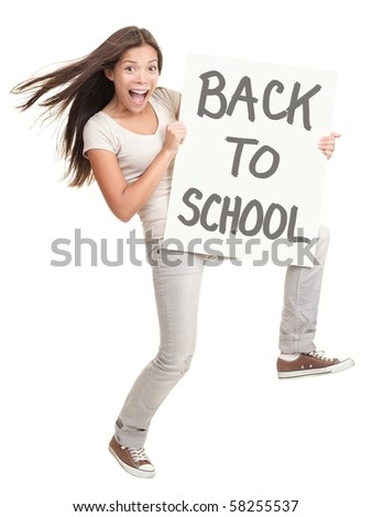 Back to school. Energetic college university student showing sign saying back to school. Cheerful white / chinese woman isolated on white background in full body. - stock photo