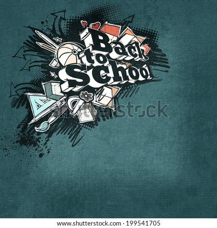 Back to school expressive label, grunge freehand sketchy style, on grunge dark background - stock photo