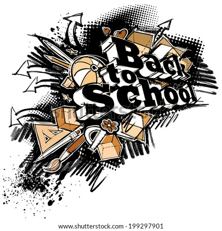 Back to school expressive label, grunge freehand sketchy style, on white - stock photo