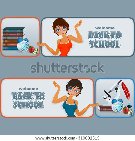 Back to school, graphic, design web banner/header; Set of banners with cartoon girl character and primary subject matter, school books, microscope, alarm clock, apple and flowers - stock photo