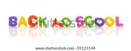 Back to school in foam letters isolated over white