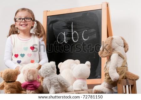 Back to school - lesson (no-name toys) - stock photo
