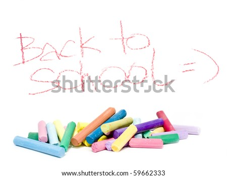 back to school message and color chalk - stock photo