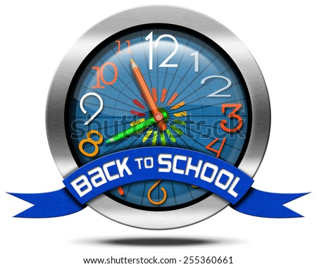 Back to School - Metal Icon. Metallic round icon or symbol with colorful clock with clock hands in the shape of colored pencils and blue ribbon with text back to school - stock photo