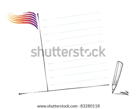 back to school - page layout template (raster version of vector artwork) - stock photo