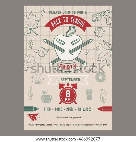 Back School Party Invitation Card Template Stock Illustration