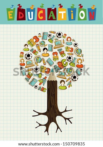 Back to school pencil tree global education icons grid sheet background. - stock photo
