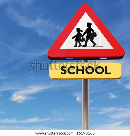 Back to school: roadsign with warning for crossing school-kids on square blue sky background - stock photo
