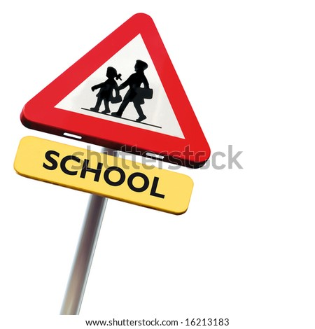 Back to school: roadsign with warning for crossing schoolkids isolated on white square background - stock photo