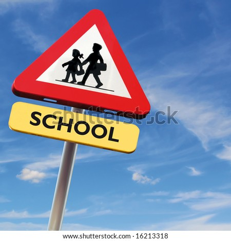 Back to school: roadsign with warning for crossing schoolkids on square blue sky background - stock photo