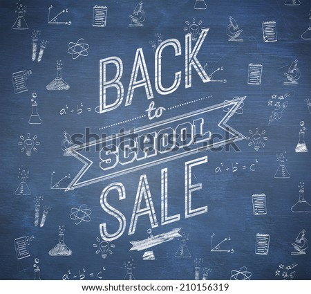 Back to school sale message against blue chalkboard - stock photo