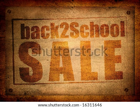 Back to school sale on grungy paper - stock photo
