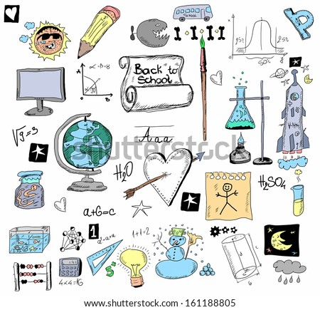 Back to school, School Doodle background and texture - stock photo