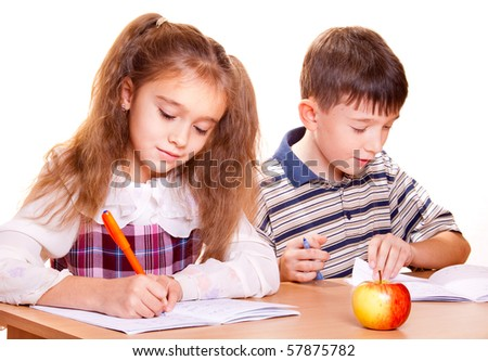 Back to School. School Girl and Boy. - stock photo