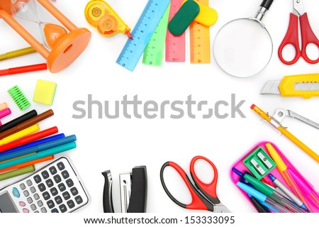 Back to school. School subjects on a white background.