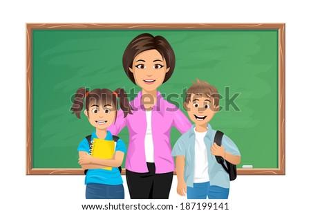 Back to school. School teacher with schoolboy and schoolgirl - stock photo