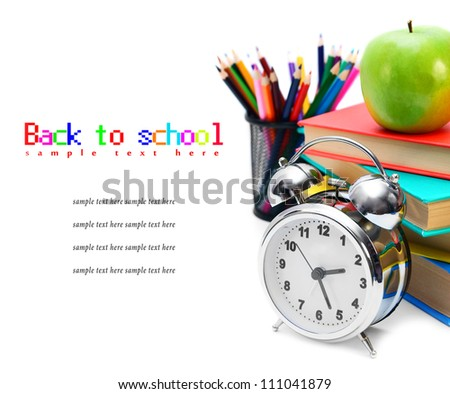Back to school. School tools. On a white background. - stock photo