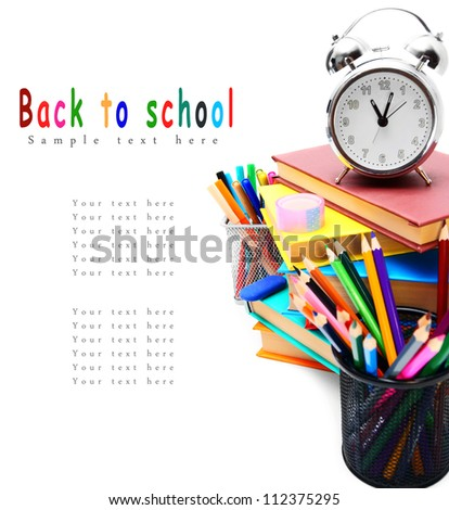 Back to school. School tools. On white background. - stock photo