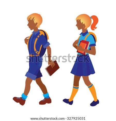 Back to school. Schoolboy and schoolgirl going to school - stock photo