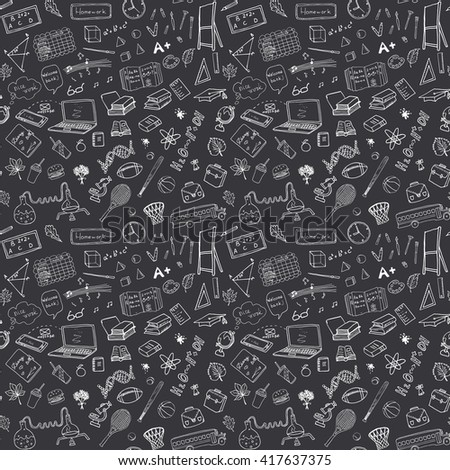 Back to School seamless pattern with Hand-Drawn Doodles. sketch element background Illustration.