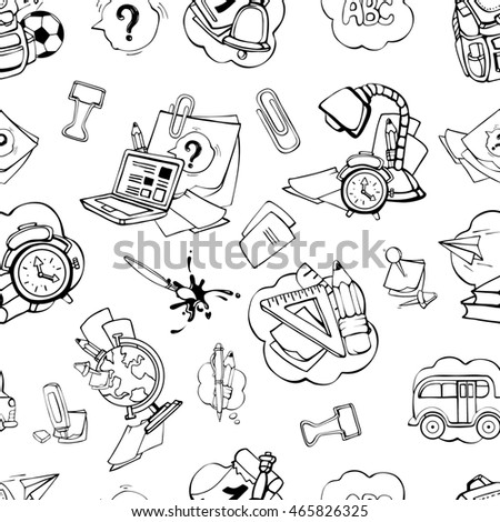 Back to School. seamless pattern with school elements isolate on white background