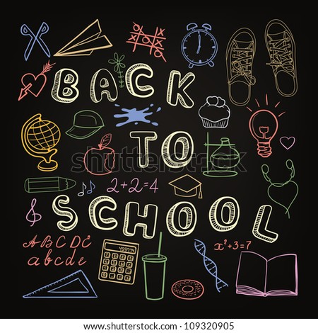 Back to school - set of school doodle symbols on chalkboard - stock photo