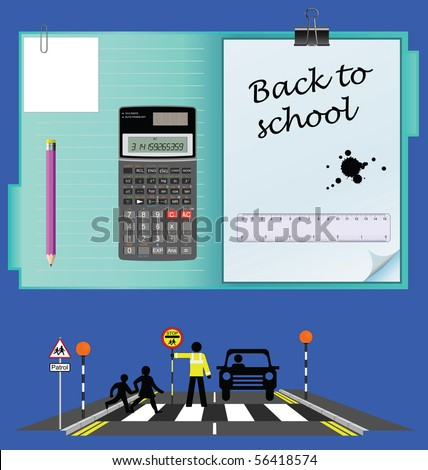 Back to school set with road school crossing - stock photo