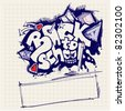 back to school sign (graffiti style) - stock vector