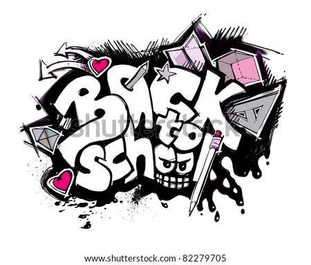back to school sign (graffiti style) - stock photo