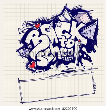 back to school sign (graffiti style) - stock photo
