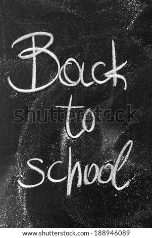 Back to school sketch on black chalkboard - stock photo