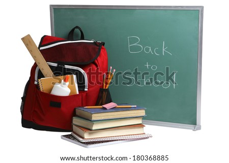 Back to School still life with green chalkboard red backpack and books on white  - stock photo