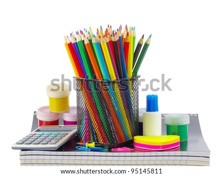 Back to school supplies on white - stock photo