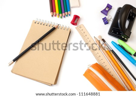 Back to school supplies on white background - stock photo