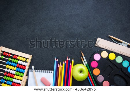 back to school template design, with school supplies and space for text - stock photo