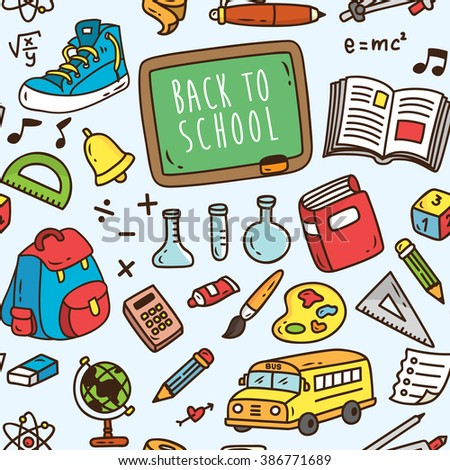 Back to school themed seamless background. School supplies pattern