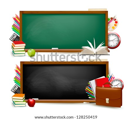 Back to school. Two banners with school supplies. Raster version of vector. - stock photo