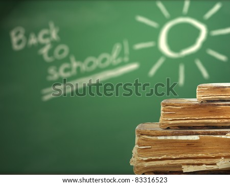 Back to school with old books - stock photo