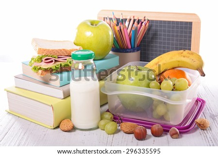 back to school with supply,sandwich and fruit - stock photo
