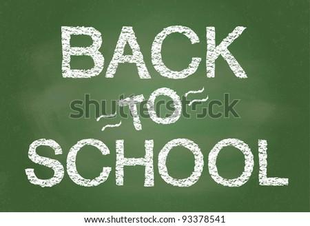 Back To School written on blackboard illustration - stock photo