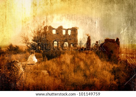 Back to the ruins - stock photo