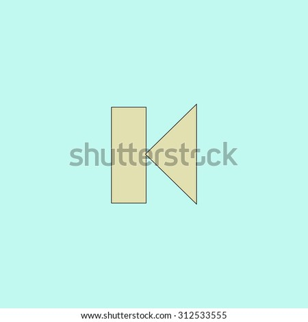 Back Track arrow Media player control button. Flat simple line icon. Retro color modern illustration pictogram. Collection concept symbol for infographic project and logo - stock photo