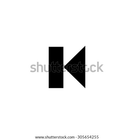 Back Track arrow Media player control button. Simple black flat pictogram on white background - stock photo