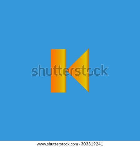 Back Track arrow Media player control button. Simple flat icon on blue background - stock photo