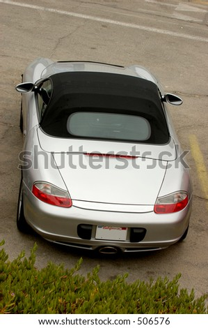 Back view from the top of luxury car. - stock photo