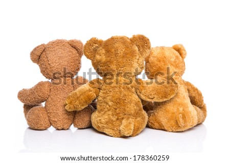 Back view from three teddy bears isolated - concept for happy family. - stock photo