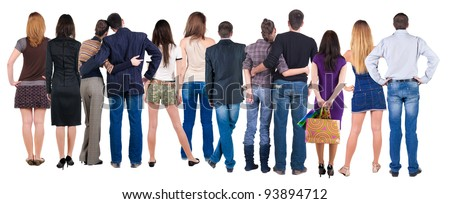 Back view group of people who are looking into the distance. Rear view. Isolated over white background. - stock photo