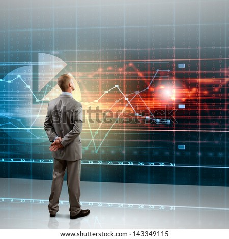Back view image of businessman with arms crossed behind back - stock photo