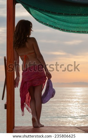 Back view of a girl with swimsuit and a pareo standing on a wooden quay while looking at the sea - stock photo